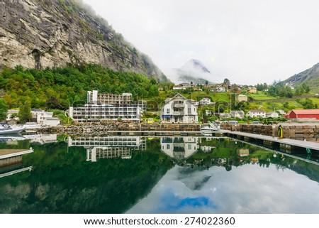 View of Geiranger fjord, Norway - stock photo