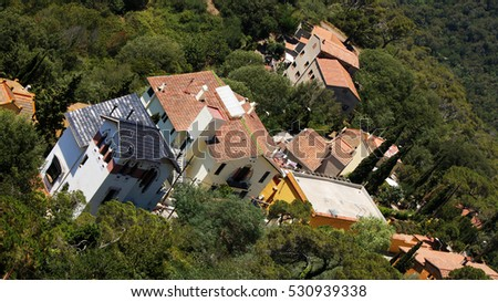 View of generic spanish houses roofs, Barcelona, Catalonia, Spain, July 2016