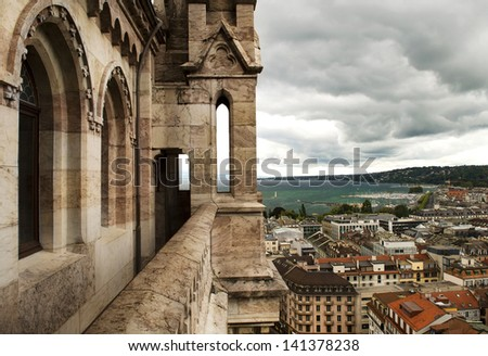 view of Geneva from the height of the north tower of the Cathedral of Saint-Pierre, Switzerland - stock photo