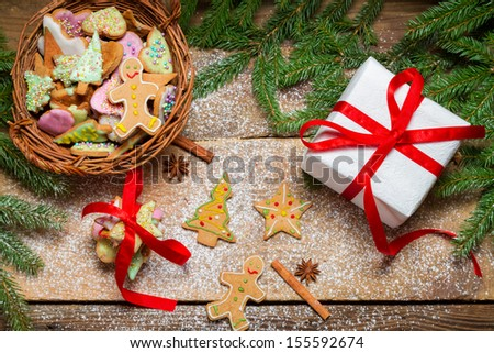 View of gingerbread cookies for Christmas in basket - stock photo