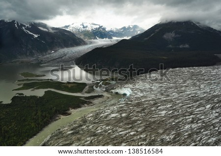 View of Glaciers in Juneau Ice FIeld in Gloomy Morning