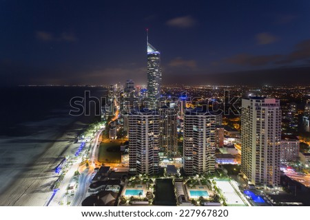 View of Gold Coast city at dusk, Queensland, Australia - stock photo