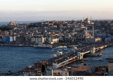 View of Golden Horn at sunset, Istanbul, Turkey - stock photo