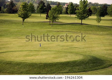 View of golf green with balls - stock photo