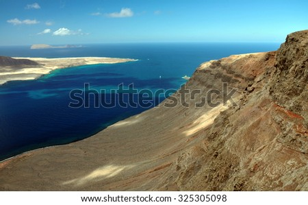View of Graciosa Island from Mirador del Rio, Lanzarote Island, Canary Islands, Spain - stock photo