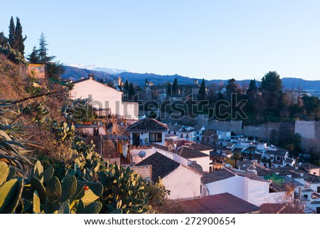View  of  Granada with Alhambra and Sierra Nevada in  background.  Spain - stock photo