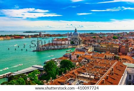 view of Grand canal, Basilica Santa Maria della Salute in Venice, italy - stock photo