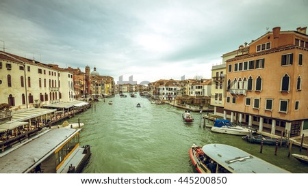 View of Grand Canal of Venice, Italy during overcast cloudy day. Toned image.