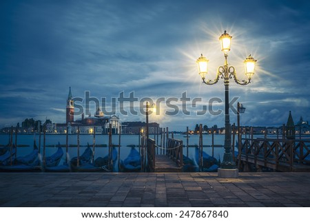 View of Grand Canal on a cloudy day, Venice, Italy. - stock photo