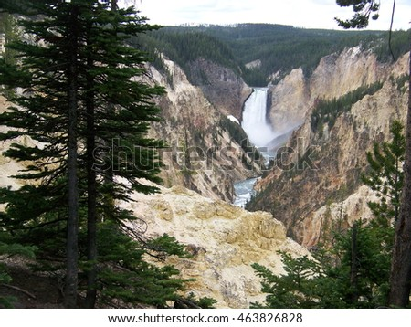 View of Grand Canyon of Yellowstone River and Lower Yellowstone Falls in Yellowstone National Park from Artist Point