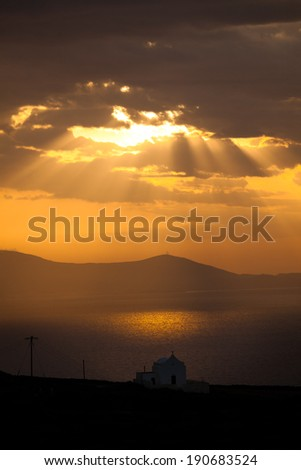 View of Greek Church Beneath Clouds