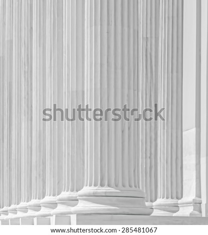 View of Greek style architectural column. (The photo is processed electronically selective illumination color and style).