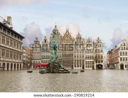 view of Grote Markt square in old town, Antwerpen, Belgium - stock photo