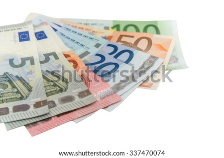 view of group euro banknotes isolated - stock photo
