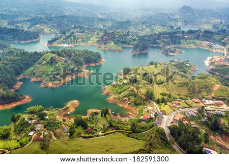 View of Guatape Lake from high above in Colombia - stock photo