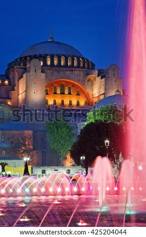 View of Hagia Sofia or Ayasofya at night in Istanbul, Turkey - stock photo