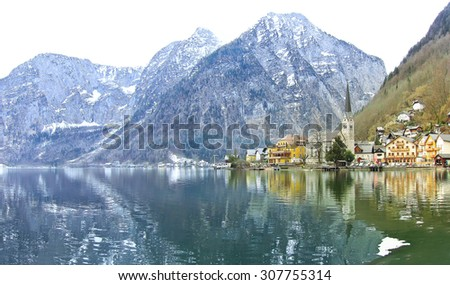 View of Hallstatt village in Alps, Austria