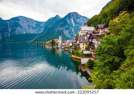 View of Hallstatt village with lake and Alps behind, Austria