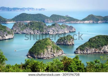 View of Halong Bay, North Vietnam. - stock photo