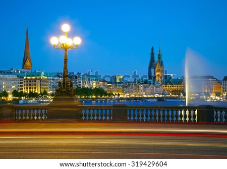 View of Hamburg city center and Alster Lake - stock photo