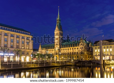 View of Hamburg city hall - Germany - stock photo