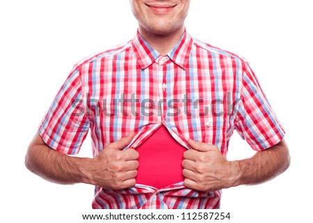 view of happy smiling hipster boy tearing off his shirt on white background - stock photo