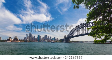 View of Harbour Bridge and Business District in Sydney