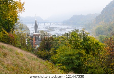 view of Harpers Ferry National Historical Park from Jefferson Rock - stock photo