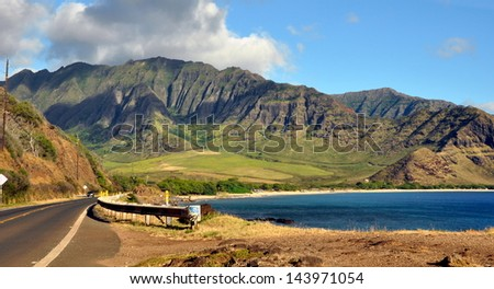 View of Hawaiian coastline - stock photo