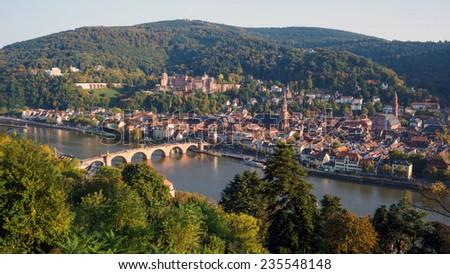 View of Heidelberg old town, Germany - Old Bridge Heidelberg, Konigstuhl Castle. - stock photo