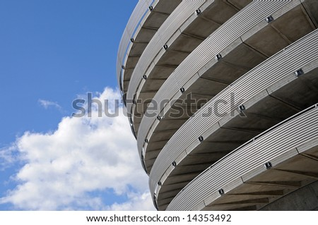 View of helicoidal parking access from ground - stock photo