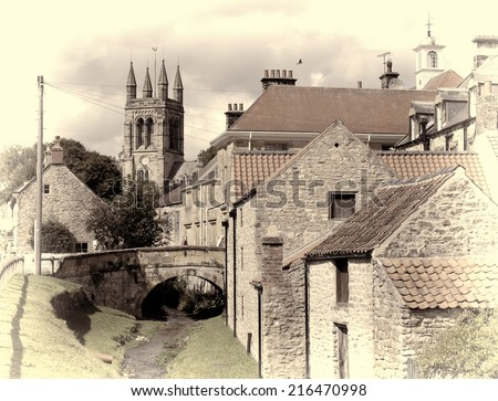 View of Helmsley, North Yorkshire with added old worldly vintage effect. - stock photo