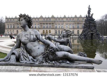 view of herrenchiemsee palace in germany - stock photo