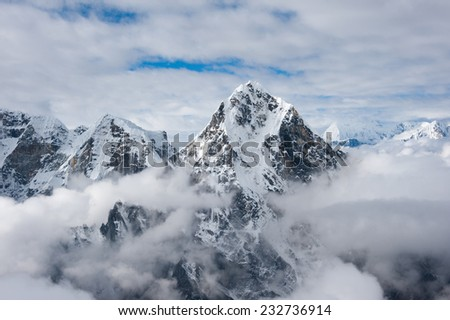View of high mountain from Lobuche peak, Everest region, Nepal