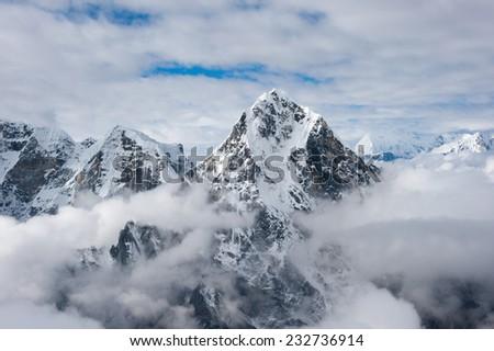 View of high mountain from Lobuche peak, Everest region, Nepal - stock photo