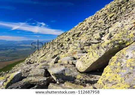 View of High Tatra Mountains from hiking trail to Slawkowsky peak, Slovakia - stock photo
