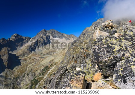 View of High Tatra Mountains from Lomnica peak, Slovakia