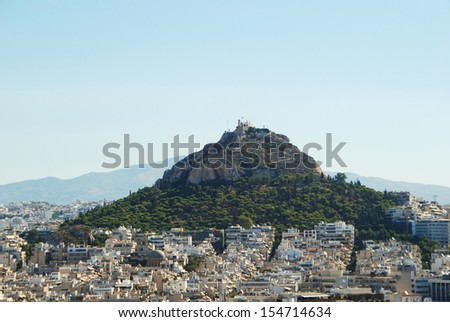 View of hill Lycabettus from Acropolis, Athens, Greece  - stock photo
