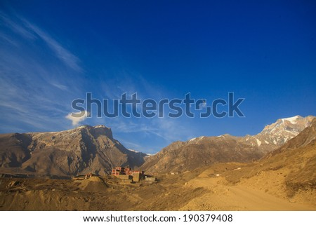 View of Himalayan at Upper Mustang landscape, Annapurna conservation area, Nepal  - stock photo