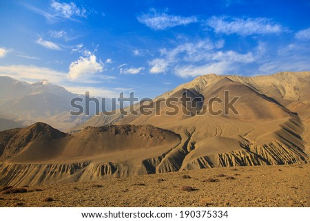 View of Himalayan in Upper Mustang landscape, Annapurna conservation area, Nepal  - stock photo
