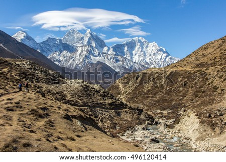 View of Himalayan range on the way to Everest base camp, Nepal
