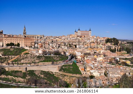 view of historic and beautiful city,toledo in spain - stock photo