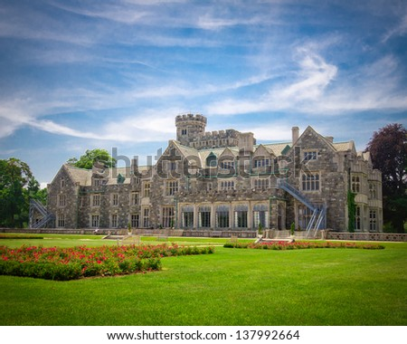 View of Historic Long Island NY gold coast mansion Hempstead House at Sands Point - stock photo