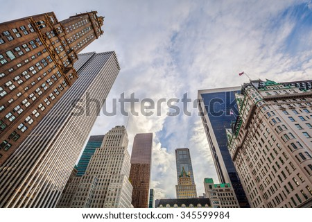 view of historic skyscrapers at Grand Army Plaza in midtown Manhattan - stock photo