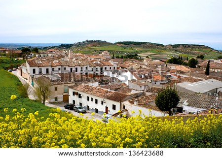 View of historic small town Chinchon near Madrid - stock photo