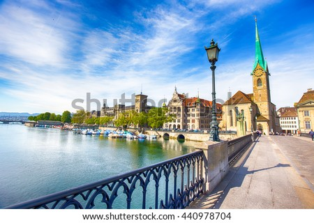 View of historic Zurich city center with famous Fraumunster Church, Limmat river and Zurich lake, Zurich, Switzerland - stock photo