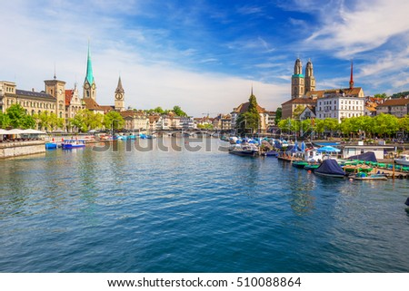 View of historic Zurich city center with famous Fraumunster Church, Limmat river and Zurich lake, Zurich, Switzerland