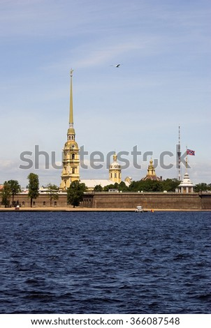 View of historical city center of Saint-Petersburg, Russia, in summer. Peter and Pauls' fortress. The Neva river. Popular touristic landmark. - stock photo
