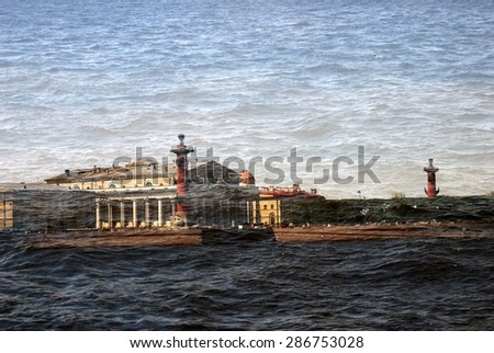 View of historical city center of Saint-Petersburg, Russia, in summer. Popular touristic landmark. UNESCO World Heritage Site. The Neva river embankment. Textured artistic photo. - stock photo