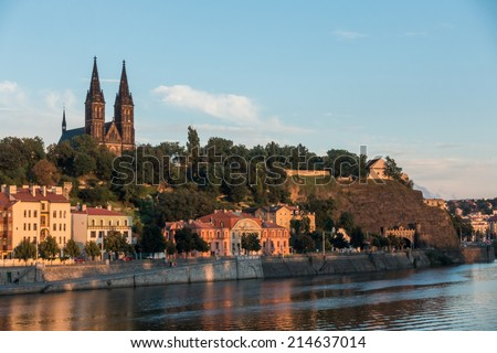 View of historical fort Vysehrad in Prague at sunset - stock photo